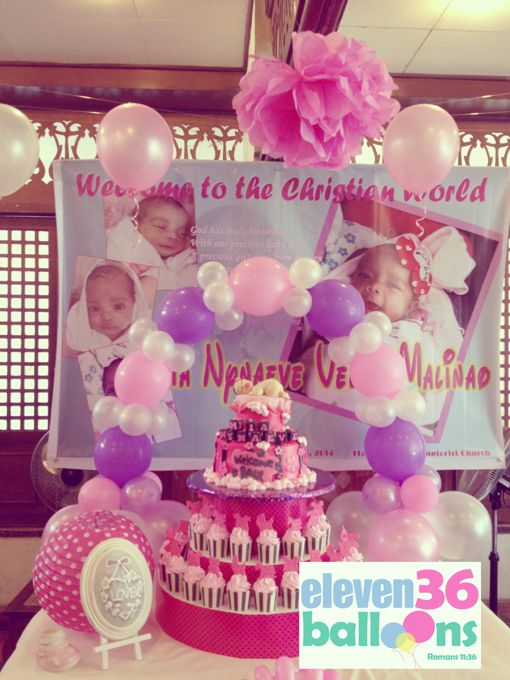 Baby mia christening eleven36 party events cebu for Balloon decoration ideas for christening