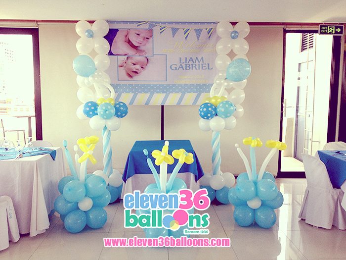 Liam 39 s christening eleven36 party events cebu for Balloon decoration ideas for christening