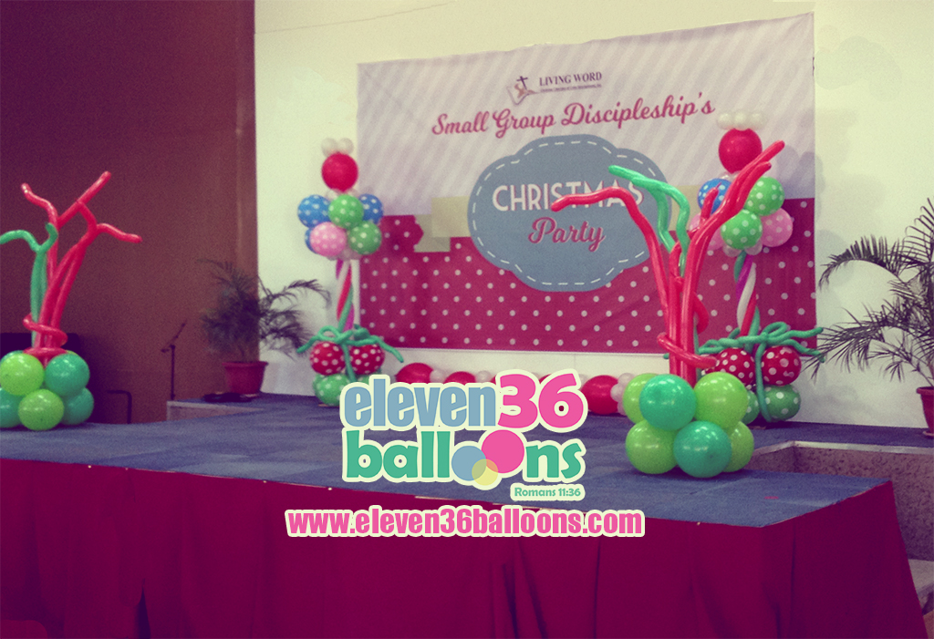 living_word_small_group_discipleship_christmas_party_stage_balloon_decor_pillar_eleven36_balloons_cebu_1