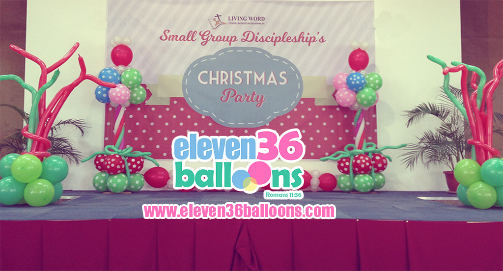 living_word_small_group_discipleship_christmas_party_stage_balloon_decor_pillar_eleven36_balloons_cebu_2