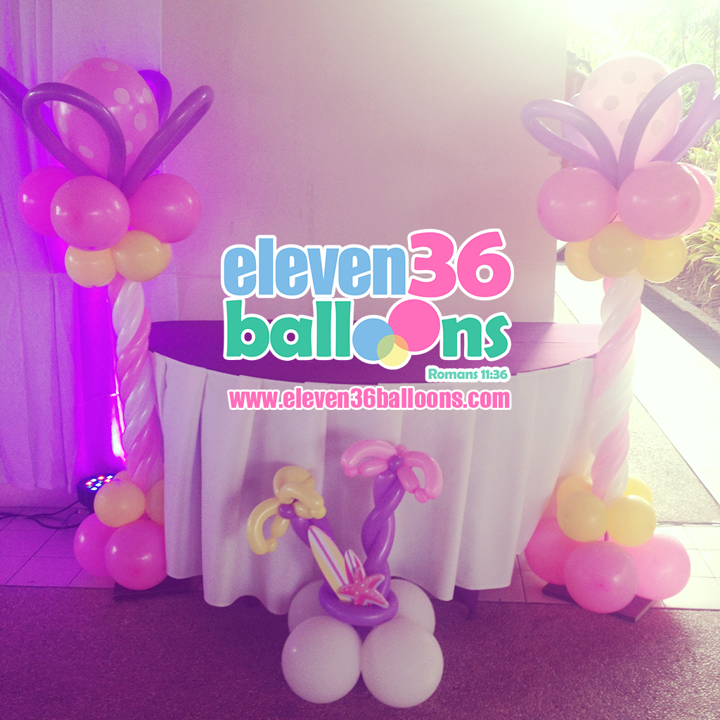 zaza_1st_birthday_summer_theme_party_balloon_pillars_eleven36_balloons_cebu